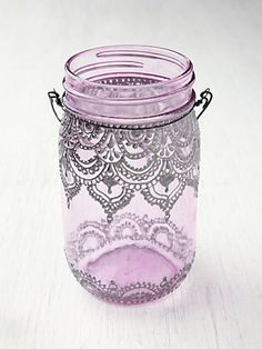 Just a picture. Dye a mason jar and add puff paint around the outside. Would be cute made into a soap dispenser for the kitchen or bathroom.