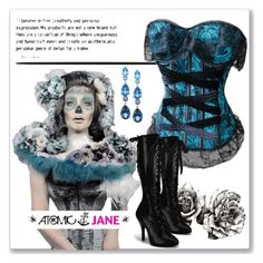 """""""ATOMIC JANE"""" by atomic-jane ❤ liked on Polyvore featuring LALI Jewels, lace, gothic, steampunk, blackandblue and atomicjanesteam"""