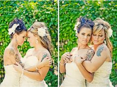 Same Sex Wedding. I love these brides-totally eased my issue with two white dresses. I cant wait to marry her