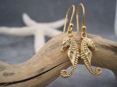 Sea Horse Charm Earrings  Gold Vermeil Sea Horse