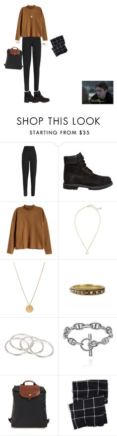 """""""It's been rough"""" by carolfaisca ❤ liked on Polyvore featuring Outsider, Timberland, H&M, Kendra Scott, Vanessa Mooney, Longchamp and DKNY"""