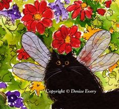 Custom Portrait of Your Cat Any Breed Flowers Pet Animal Watercolor Painting 5x7  By PeicasaArt on Bonanza.com