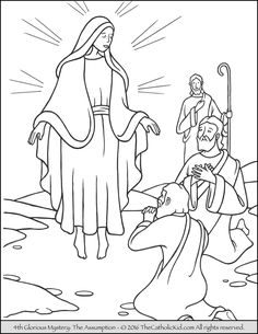 The 4th Glorious Mystery Coloring Page – The Assumption: Mary is taken up into heaven (body and spirit).