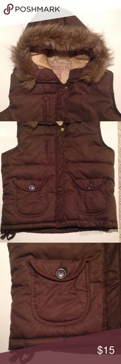 Forever 21 vest Awesome vest with removable faux fur lining around hood. Chocolate brown with zip front plus snaps and draw string waist. Forever 21 Jackets & Coats Vests