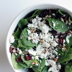 will try this! spinach, craisins, pecans, feta.. mmmm