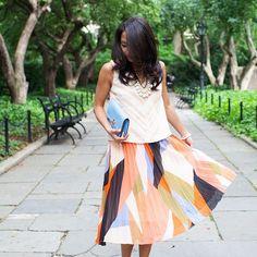 Pleated Colorblock Skirt #Anthropologie #MyAnthroPhoto