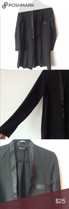 ASOS long lightweight semi sheer blazer Stylish semi sheer outer wear to be worn as a blazer. Has an open front with contrast material finish of collar and top of pocket- as shown in lightened photo. Top pocket is not functional but has hidden side pockets. Made out of 100% polyester. Under arm to under arm flat across on back is approximately 18 inches. Back of neck to bottom of hem is approximately 34 inches. ASOS Jackets & Coats Blazers
