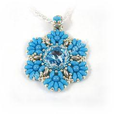 Turquoise Swarovsky Crystal Rivoli Flower by CreativeTreasuresUK