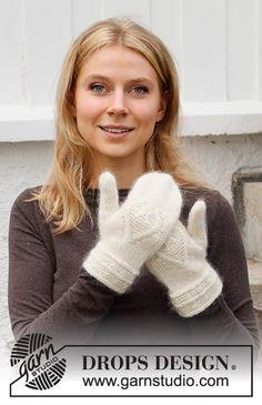 Let it Knit / DROPS 214-62 - Gratis strikkeoppskrifter fra DROPS Design Knitted Mittens Pattern, Knit Mittens, Knitting Socks, Knitting Patterns Free, Free Knitting, Crochet Patterns, Drops Design, Drops Kid Silk, Drops Alpaca