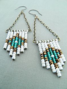 Beaded chevron earrings Native American by BohemianFairyShop