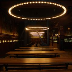 This is SF's best new German beer hall, Schroeders -- Cool lights and tables