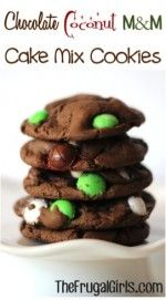 Chocolate Coconut M&M Cake Mix Cookies Recipe