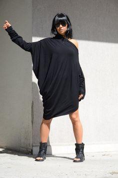 Asymmetric One Shoulder Long Tunic Dress, Oversize #asymmetricdress #oneshouldertop #longtunicdress #extralongsleeves #offshouldertop #batsleevesdress #midkneedress #oversizedtunic #openshoulder #oneshoulderblouse #offtheshoulder #oversizeblackdress #cottontop
