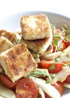 Fenchel Tomaten Gemüse mit gebratenem Feta. Noch mehr Rezepte gibt es auf www.Spaaz.de