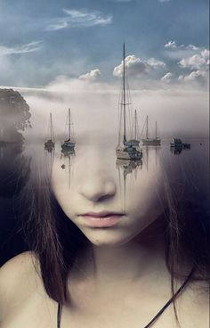 Some optical illusions play on perspective, while others focus on the blending and matching of two different photos.  This one blends a face with ships in water that act as eyes and the reflection of the ship in the water acts as tears as they come down onto the face where it blends.