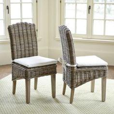 Simone Wicker Chairs Set Of 2 Driftwood Gray