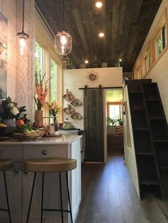 A tiny house interior, built and featured on Tiny House Nation