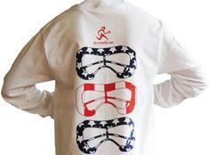 USA Lax Goggles White Long Sleeve Front Pocket Tee - Sportabella, Ltd Store