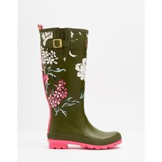 WELLYPRINT Printed Wellies ($56) ❤ liked on Polyvore featuring shoes, boots, wellington boots, green rubber boots, wellies shoes, green boots and rain boots