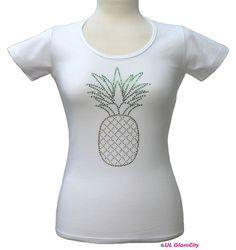 T-Shirts mit Applikation - T- Shirt, weiß, Ananas, Strass - ein Designerstück von UL-GlamCity bei DaWanda