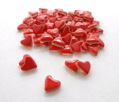 50 Red heart tiles Small ceramic mosaic tiles  by mosaicmonkey, $7.25