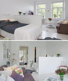 Sypialnia ukryta za niewysoką ścianką
