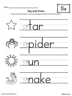 Say and Trace: Letter S Beginning Sound Words Worksheet Worksheet.Practice saying and tracing words that begin with the letter S sound. Letter S Activities, Letter S Worksheets, Jolly Phonics Activities, Alphabet Worksheets, Kindergarten Worksheets, Blends Worksheets, Maze Worksheet, Beginning Sounds Worksheets, English Phonics