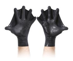 Darkfin Webbed Gloves. I actually used these for a season freediving in the winter in 46 degree water...actually not too bad. Love the way they move water.