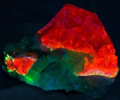 Fluorescent sodalite from Greenland -- looks very Christmassy to me.