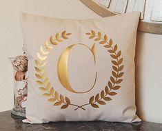 Gold Pillow Metallic Gold Monogram Pillow Gold by FestiveHomeDecor Personalized Metallic Pillow Silver Pillow Gold Letter Pillow