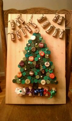 Now, this is cute! So imaginative! Eat, drink and be merry with wine corks and beer bottle caps.
