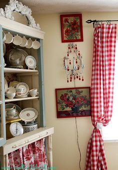 Red buffalo check, red toile & aqua - beautiful colorful cottage style!