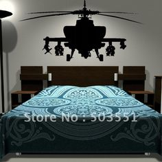 VINYL Decal Wall Sticker decor- Army HELICOPTER kids ❤