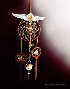Steampunk dreamcatcher, clockwork dreamcatcher, steampunk decor, unique dreamcatcher, boho wall hanging, clock art, wall art, steampunk art,. $115.00, via Etsy.