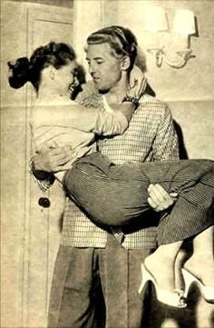 YOUNG LOVE.  Jerry Lee Lewis holds his cousin & new wife Myra Gale Brown - 1957.