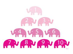 Pink Counting Elephants Art Print at AllPosters.com
