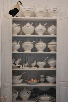 Ironstone Tureens- how do I love thee? China Storage, White Dishes, White Plates, White China, Shades Of White, Stores, Cupboard, Home Accessories, Shabby Chic
