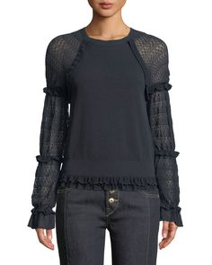 Jonathan Simkhai Pointelle Ruffle Long-Sleeve Top