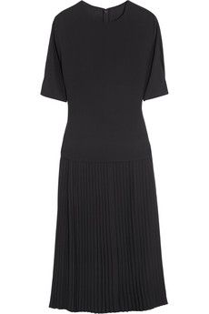 Gucci Pleated silk-blend dress | NET-A-PORTER a beautiful timeless #blackdress this season, I'd pair with a pair of electric blue suede Mary Janes