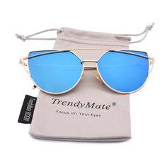 TrendyMate Womens Street Fashion Metal Twin Beam Flat Mirror Lens Cat Eye Sunglasses