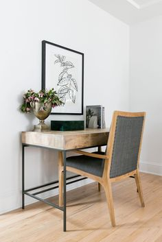 Metal and wood desk with beautiful wall artwork. brass urn modern chair w/gray flannel Office Decor, Home Office, Office Spaces, Office Ideas, Office Designs, Small Wooden Desk, Tiny House, Woven Wood Shades, Furniture