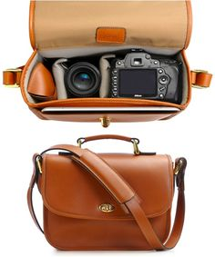 Leather camera bag pinned with Pinvolve - pinvolve.co