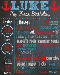 Nautical First Birthday Chalkboard Boy First by LaLaExpressions, $30.00