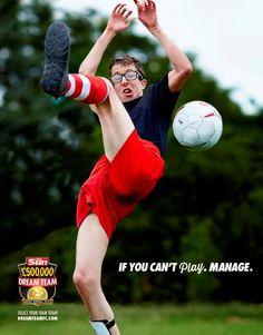 "Client: The Sun ""Dream Team"" fantasy football Agency: Grey, London Creative Advertising, Print Advertising, Advertising Signs, Print Ads, Marketing And Advertising, Guerilla Marketing, Viral Marketing, Fantasy Football League, Fantasy League"