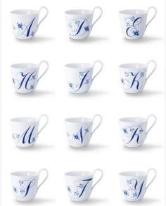 Royal-Copenhagen-240-Anniversary-Blue-fluted-plain-alphabet-mug-Free-tracking