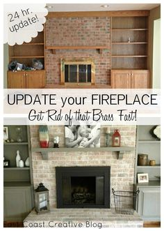 DIY whitewashed brick and painted brass fireplace! East Coast Creative: Brass Fireplace Update DIY whitewashed brick and painted brass fireplace! East Coast Creative: Brass Fireplace Update was last modified: August… Fireplace Remodel, House Design, House, White Wash Brick, Home Remodeling, New Homes, Home Diy, Fireplace, Fireplace Makeover