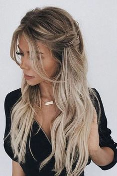 Prom Hairstyles Half Up Half Down Looking for Hair Prom Inspo? Get prepared for prom season by checking out some of our favorite half up half down prom hairstyles for all hair lengths & textures Wedding Hair Down, Wedding Hair And Makeup, Bridal Hair, Hair Makeup, Wedding Bride, Wedding Day Nails, Prom Hair Down, Bride Hairstyles, Fancy Hairstyles