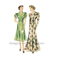 1930s HOUSECOAT DRESS PATTERN Fit & Flare Dress by DesignRewindFashions, Vintage to Modern sewing Patterns $48.00