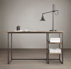 "designbinge:    Fulton Desk  Sturdy steel frame with burnished finish  Distressed, reclaimed elm table tops and shelves    shelves and table tops may have holes. nicks, nail marks and imperfections reveal the wood's age and provenance.  DIMENSIONS  55""W x 24""D x 31""H  (140cm x 60cm x 79 cm)"