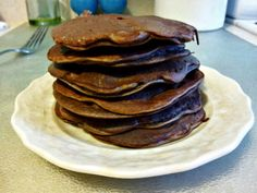 Chocolate protein pancakes made with banana.  40 calories per small pancake.